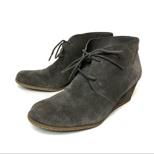 FRANCO SARTO Gray Wedge Leather Suede Laces 8.5